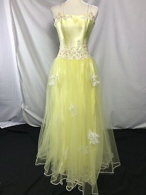 Yellow Bell Pixie Ball Gown Costume Dress applique sequin bead princess Size 4