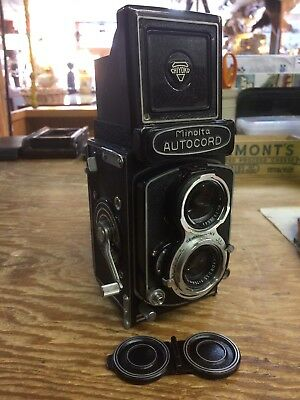 Minolta Autocord 75mm TLR Camera (Japan) with Leather Case. NICE SHAPE!