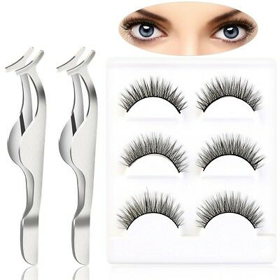 Pixnor 6pcs Natural Cross Thick False eyelashes fake eye lashes with 2pcs
