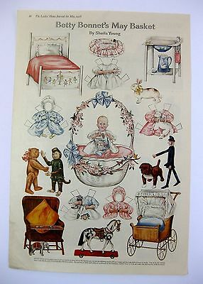 Vintage May 1918 Betty Bonnets May Basket Paper Doll Magazine Page