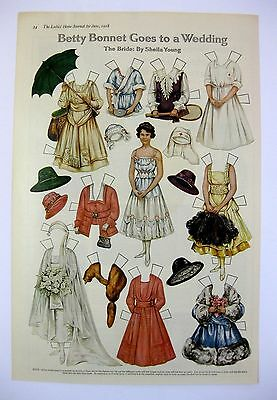 Vintage June 1918 Betty Bonnets Goes to a Wedding Paper Doll Magazine Page