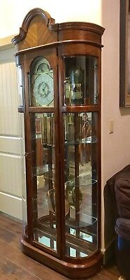 Vintage Oak Ridgeway Curio Moon Phase Westminster Grandfather Clock 3 Chime Rare