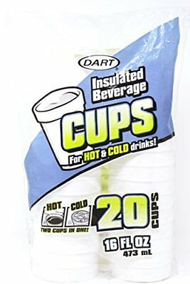 Dart 16 Oz. White Disposable Drink Foam Cups Hot and Cold Coffee Cup Pack of 20