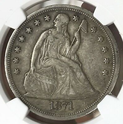 1871 Seated Liberty Silver Dollar NGC VF 35. Original Surfaces. Clean. PQ