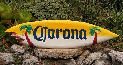 Corona Wood Surfboard Beer Tiki Bar Sign w/ shark bite Pub Man Cave 39""