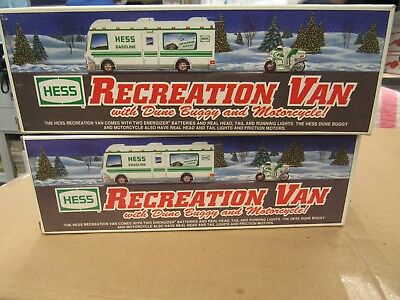 2 Vintage Hess Recreation Vans 1998 New In Box But Pre-Owned (12478-Closet-Oy)