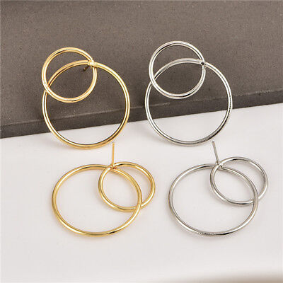 Modern Hook Earrings Two Connected Circles Dangle Hoops Jewelry LH