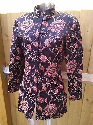 East Womens Chinese Jacket Black Silk Mix Floral Embroidery Print Size 14