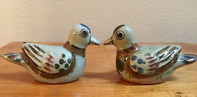 Pair of Vintage Mexican Folk Art Pottery Duck Bird Figurines Lot of 2