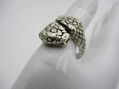 Double Headed Snake Ring - Silver Plated Pewter Men's Jewelry Biker Finger Ring