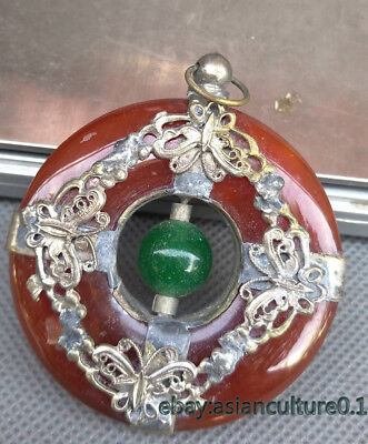 Exquisite Collection Tibet Silver Inlaid Jade pendant carved butterfly