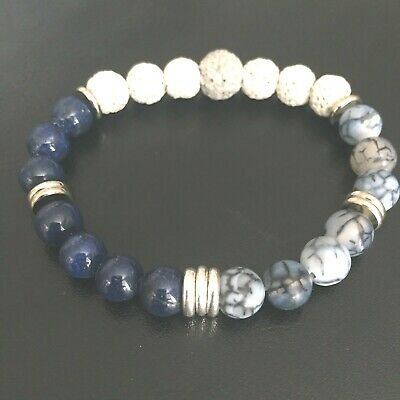 Essential Oil Diffuser Bracelet Lava Rock Blue Lapis Agate Stone Beaded Jewelry