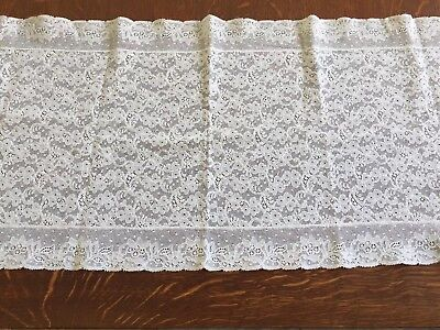 """VINTAGE ANTIQUE CREAMY WHITE FRENCH ALENCON LACE RUNNER 40"""" x12"""""""