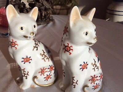 Vintage Gold Painted Glazed Porcelain Catsvery Beautiful Details Made In Japan