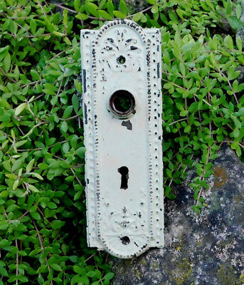 Antique Vintage Door Knob Plate Escutcheon With Skeleton Key Hole-Chippy Paint