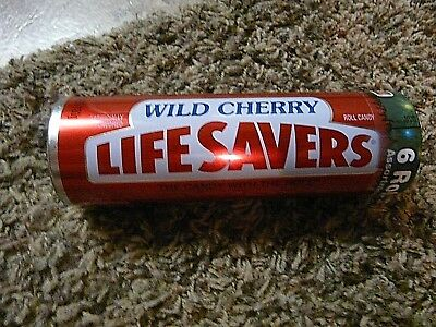Wild Cherry Lifesavers tin can w/6 rolls assorted lifesavers candy