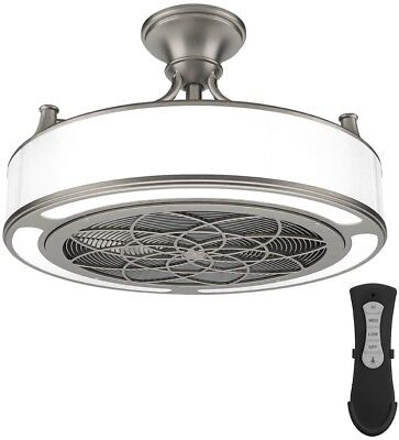 ANDERSON 22 IN. LED Indoor/Outdoor Brushed Nickel Ceiling Fan with ...