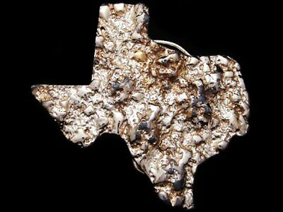 IB01122 VINTAGE 1970s CUT-OUT ***STATE OF TEXAS*** GOLD NUGGET BUCKLE