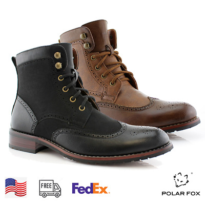 Polar Fox Jonah MPX808567 Mens Casual Perforated High-Top Wingtip Dress Boots