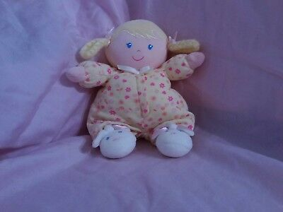 "Carters Child of Mine 8"" Plush Rattle Doll Yellow Floral Bunny Rabbit Feet"
