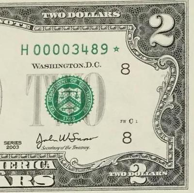 2003 $2 Choice Uncirculated Fancy Serial Number LOW 4 Digit STAR St. Louis 3489!