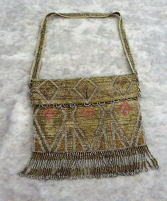 Fabulous Quality Antique Vintage French Beaded Evening Purse Bag C 1920's