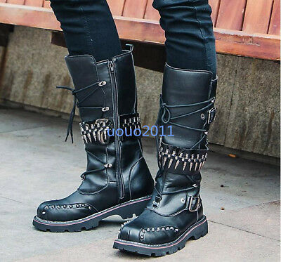 Mens Vintage Rivet Mid Calf Boots Motorcycle Stylish Buckle Combat Boots Shoes