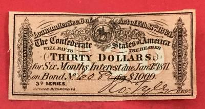 1864 $30 US Confederate States of America! Choice VF! Old US! Genuine!