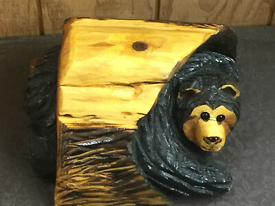 Chain Saw Carving Hand Carved Bear Hiding in A log Western Red Cedar