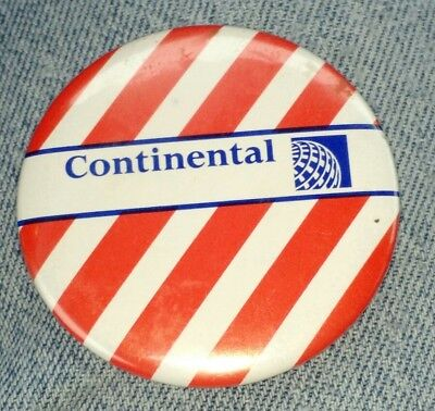 Vintage Continental Airlines Advertising Pinback Button 1970's