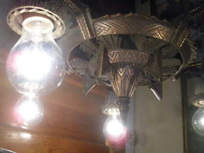 Ant. Gothic Revival Skyscraper Industrial Age 1920'S Vtg Ornate Deco Chandelier