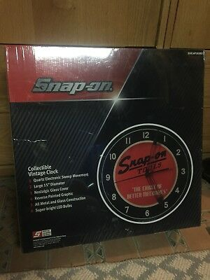 """NEW Snap-on SSX16P103KO Collectible Vintage Clock 15"""" Glass Cover All Metal LED"""