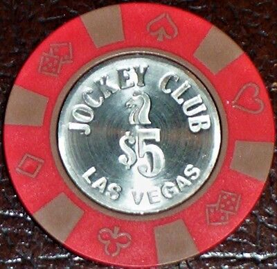 Old $5 JOCKEY CLUB Casino Poker Chip Vintage Antique BJ Mold Las Vegas NV 1983