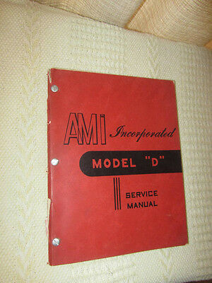 "AMI 1951 Jukebox Model ""D"" Original Service Manual"