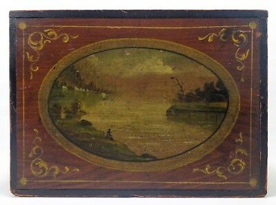 Mid-19Th C. Antique American Dec Box, W/hudson River School Oval Painting On Lid