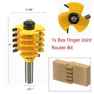 """Box Finger Joint Router Bit 1/2"""" Shank 5 Blade 3 Flute Wood Cutter Tools US"""