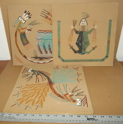 """Lot of 3 Native American Sand Paintings 12"""" x 12"""""""