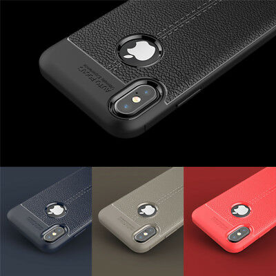 For iPhone XS Max XR X 8 7 6s Plus Slim Leather Effect TPU Shockproof Case Cover