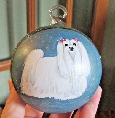 NICE, Blown Glass Christmas Ornament with Hand Painted MALTESE DOG, 3""