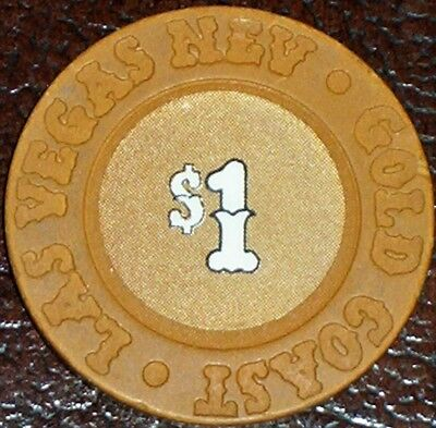 Old $1 GOLD COAST Casino Poker Chip Vintage Antique House Mold Las Vegas NV 1992