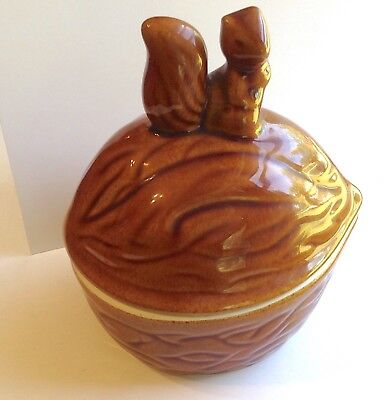 Squirrel Nut Dish, Brown Vintage Candy Dish with Lid, Cute Kitchen Decor