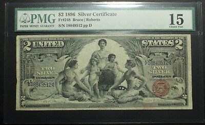 1896 $2 Two Dollar Educational Silver Certificate Note PMG F 15 - FR#248
