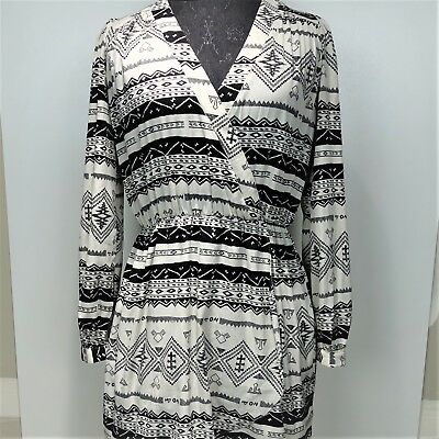 7b2c3d57f51c Anthro Honey Punch Womens Tribal Faux Wrap Dress Long Sleeve Black White  Size M