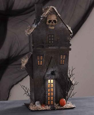 """Halloween 14.25/"""" LED Lighted Glitter Drenched Haunted House Table Top Decoration"""