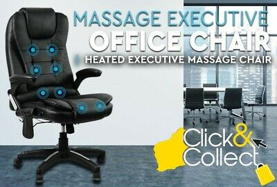 8 Point Massage Executive Computer Office Chair Heated Recliner Seat PU Leather