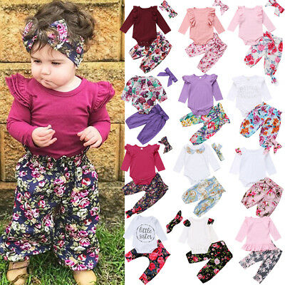 All Styles Kids Baby Girls Floral Bodysuit Romper Pants Home Outfits Set Clothes