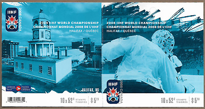 Canada Stamps -Booklet pane 10 -2008, IIHF World Championship #2265a (BK372) MNH