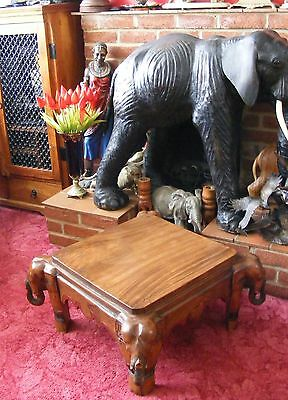 Vintage Antique Style Solid Wooden Elephant Legs Hand Carved Coffee Side Table
