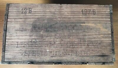 vtg 1978 wood wine box crate advertising Chateau Les Ormes De Pez