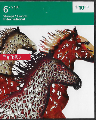 Canada Stamps - Booklet pane of 6 - Art: Horses by Joe Fafard #2525a (BK483) MNH